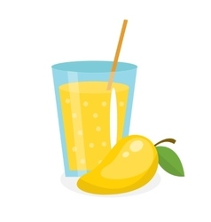 Mango juice in a glass Fresh isolated on white vector image vector image