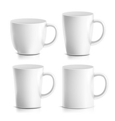 mug mock up set realistic ceramic coffee vector image