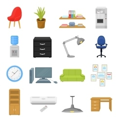 Office furniture and interior set icons in cartoon vector