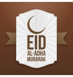 Paper label with eid al-adha text and crescent vector
