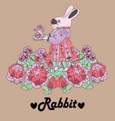 Rabbit retro background vector