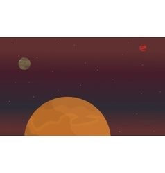 red planet on space landscape vector image vector image