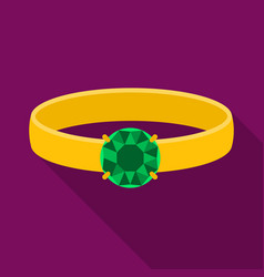Ring with diamond icon in flat style isolated on vector