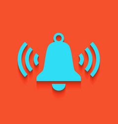 Ringing bell icon whitish icon on brick vector