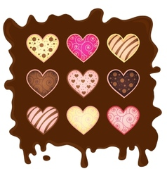 set heart-sweetmeats on chocolate vector image
