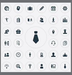 Set of simple hr icons elements award earmuff vector
