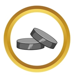 Two hockey pucks icon cartoon style vector