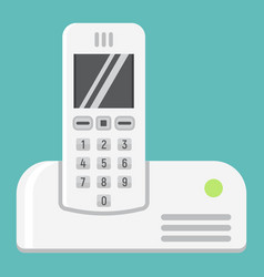 Wireless telephone flat icon household appliance vector
