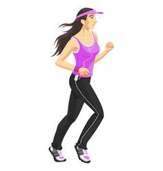 Woman jogging color vector