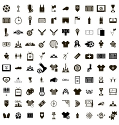100 Soccer Icons set vector image