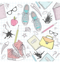 Cute school abstract seamless pattern vector