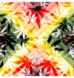 Rastafarian colors pattern and grunge hemp leaves vector