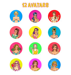 Collection of pop art female avatars for vector