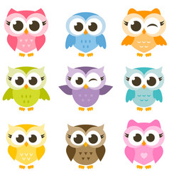 set of cute colorful owls isolated on white vector image