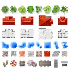 set of landscape design elements vector image