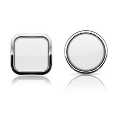 white glass buttons square and round shiny icons vector image