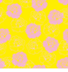 Seamless floral yellow pattern with pink roses vector