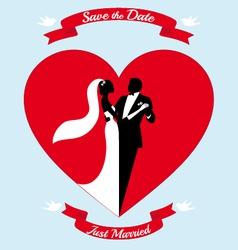 Wedding couple bride and groom in red heart vector