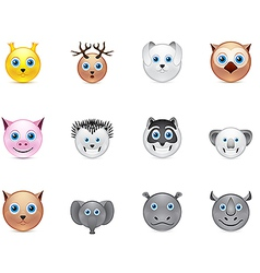 Animals smile icons set vector