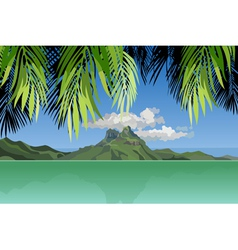 View of the island in the ocean through the palm vector