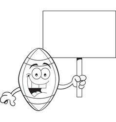 Cartoon football holding a sign vector