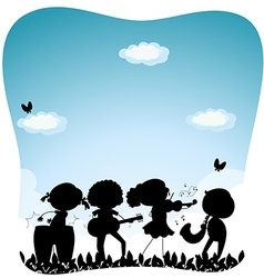 Silhouette people playing music in the park vector