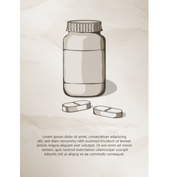 Blank medicine bottle and pills vintage label vector