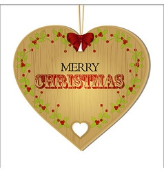 Merry christmas wooden heart vector
