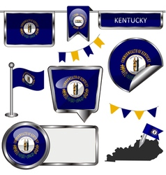 Glossy icons with kentuckian flag vector