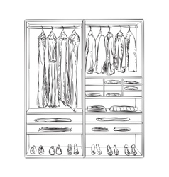 Hand drawn wardrobe clothes sketch vector