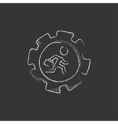 Man running inside the gear Drawn in chalk icon vector image