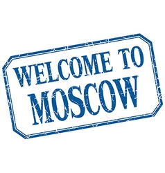 Moscow - welcome blue vintage isolated label vector