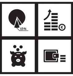 Concept flat icons in black and white finance vector