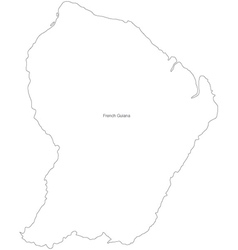 Black white french guiana outline map vector