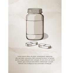 Blank medicine bottle and pills vintage label vector
