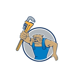 Bulldog Plumber Monkey Wrench Circle Cartoon vector image