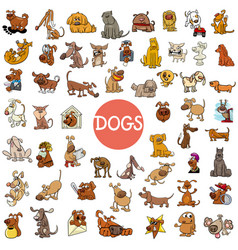 cartoon dog characters large set vector image vector image
