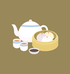 Chinese dim sum steamed bun in basket vector