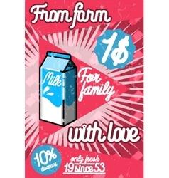 Color vintage Milk poster vector image