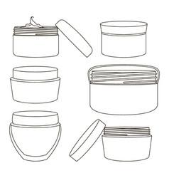 Cream jar set vector