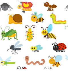 Cute cartoon seamless pattern with insects vector