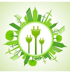 Eco cityscape with electric plug vector