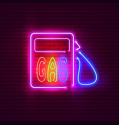 gas station neon sign on brick wall vintage vector image