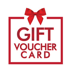 Gift voucher card red gift box white background ve vector