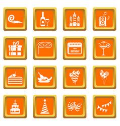 Happy birthday icons set orange vector