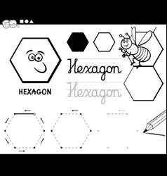 Hexagon basic geometric shapes coloring page vector