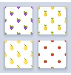 Icons set flat design fruit seamless pattern vector