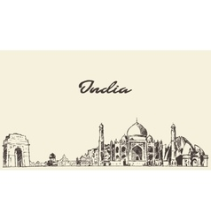 India skyline drawn sketch vector image