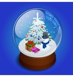 Isometric merry christmas transparent glass ball vector