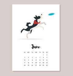 june dog 2018 year calendar vector image vector image